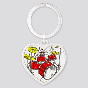 Drums in color Trans BackII Heart Keychain